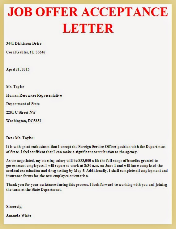Offer Letter Acceptance Mail Format Sample Promotion Letters