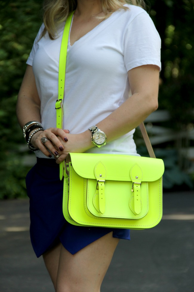 Neon bag from The Cambridge Satchel Company