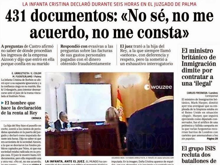 Declaraciones de la Infanta ante el juez Castro