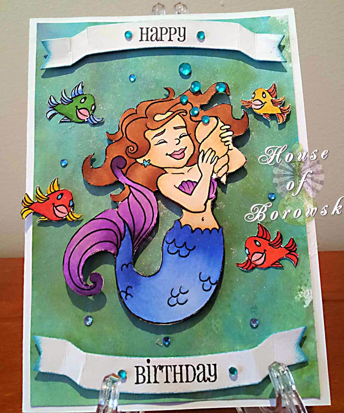 House of Borowski, Elizabeth O Dulemba, Distress Inks, Simon Says Stamps little banner, tattered angels sprays