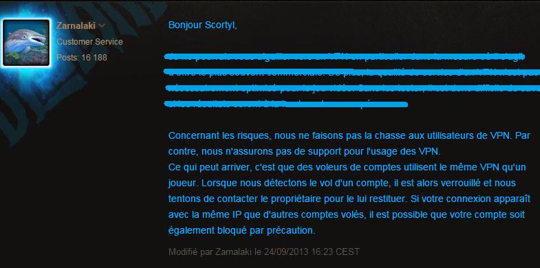 opinion officielle de Blizzard vers l'utilisation de VPN