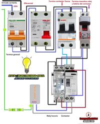 Maniobra de termo electrico con reloj horario contactor for Diferencial general electric