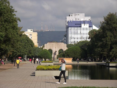 sol aparecendo no final de tarde em Porto Alegre. A imagem mostra o Parque da Redenção, onde uma mulher protege os olhos contra o sol