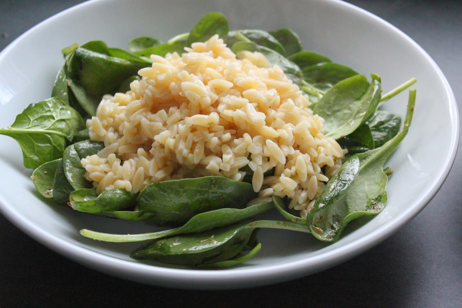 Spinach and orzo for Greek chicken and orzo bowls