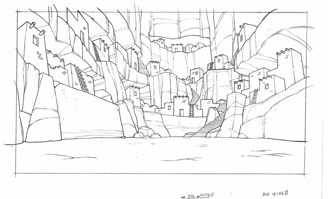 Animation Background Layout Drawings For Futurama And The Simpsons Movie