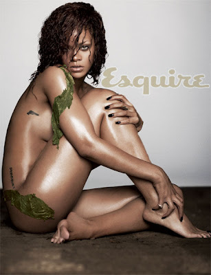 Rihanna wearing nothing but some seaweed