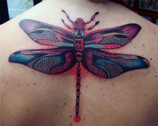 Cool and Beautiful 3D Dragonfly Tattoo