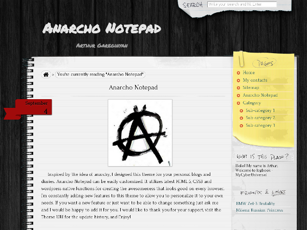 Anarcho Notepad Wordpress Theme Blogger Template | DheTemplate