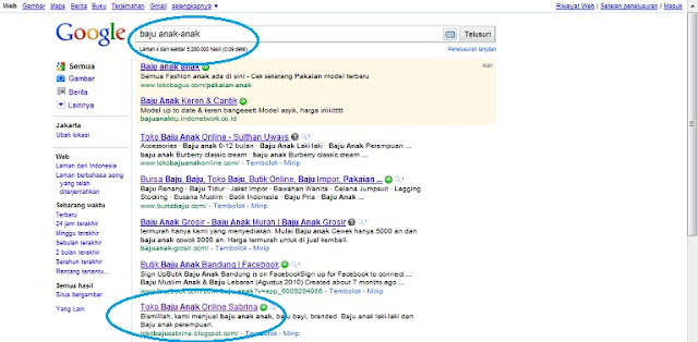 SERP SEO Dasar Google untuk Toko Baju Sabrina