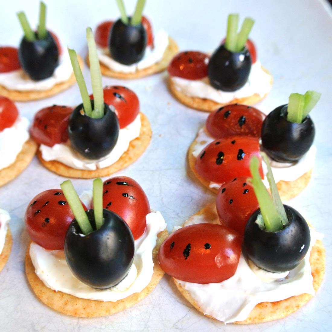 Mom what 39 s for dinner ladybug canape appetizers gluten free for Appetizer canape
