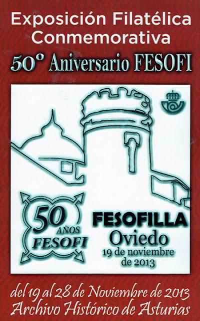 Cartel exposición Filatélica Conmemorativa 50 aniversario FESOFI