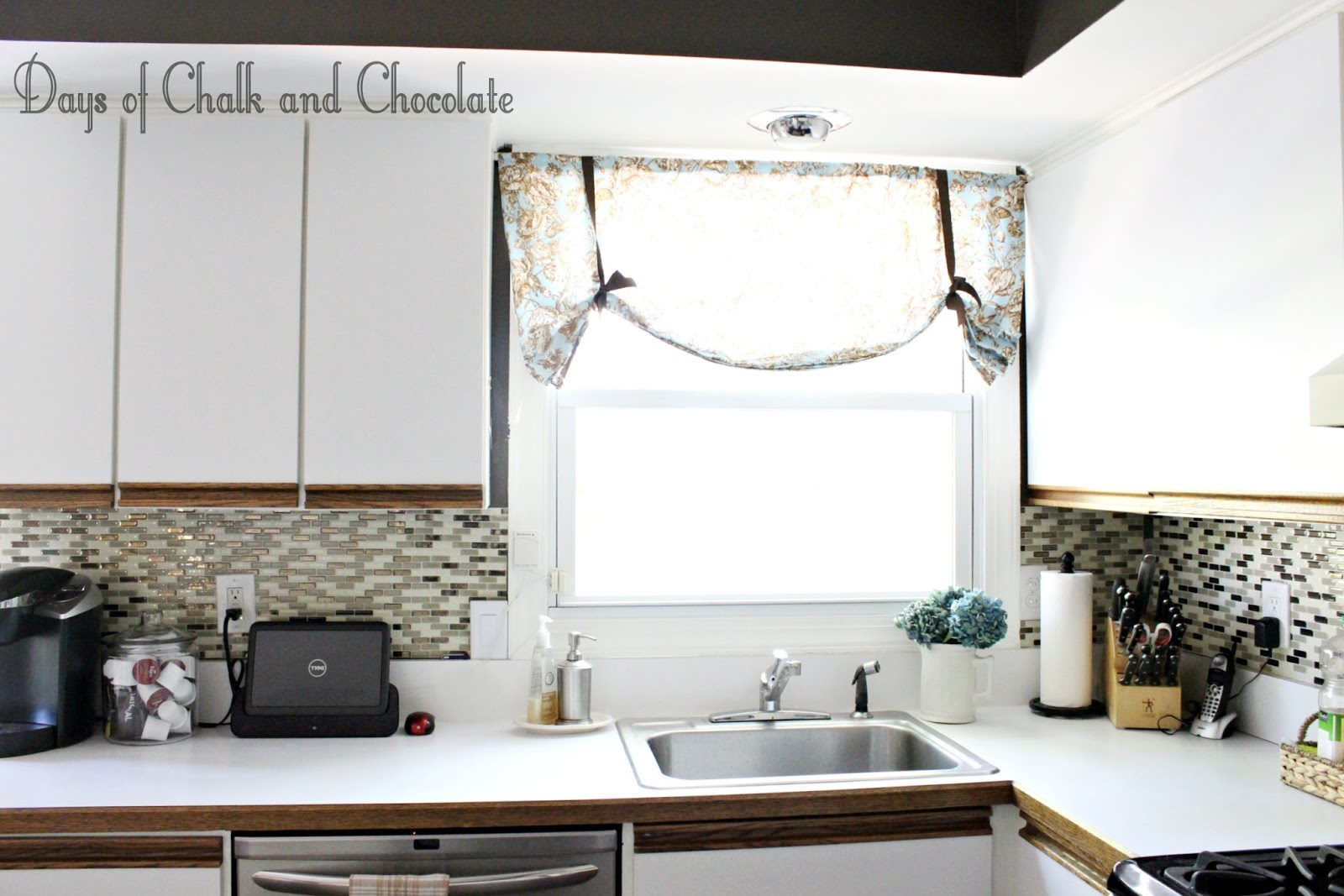 Easy DIY Self Adhesive Faux Tile Backsplash | Days Of Chalk And Chocolate