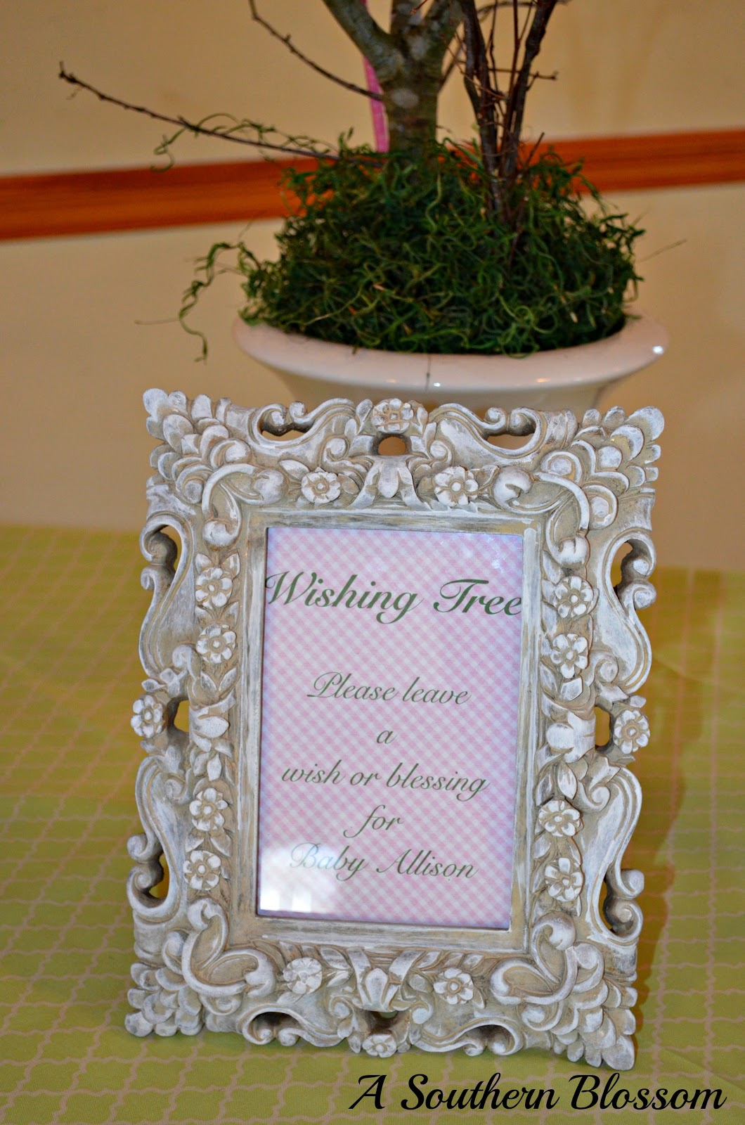 Baby Shower Wish Tree Poem http://asouthernblossom.blogspot.com/2013/02/a-baby-shower.html