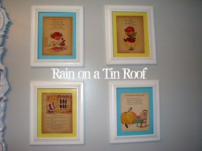 Vintage Nursery Rhymes as Wall Art {rainonatinroof.com} #art #nursery #vintage #rhymes