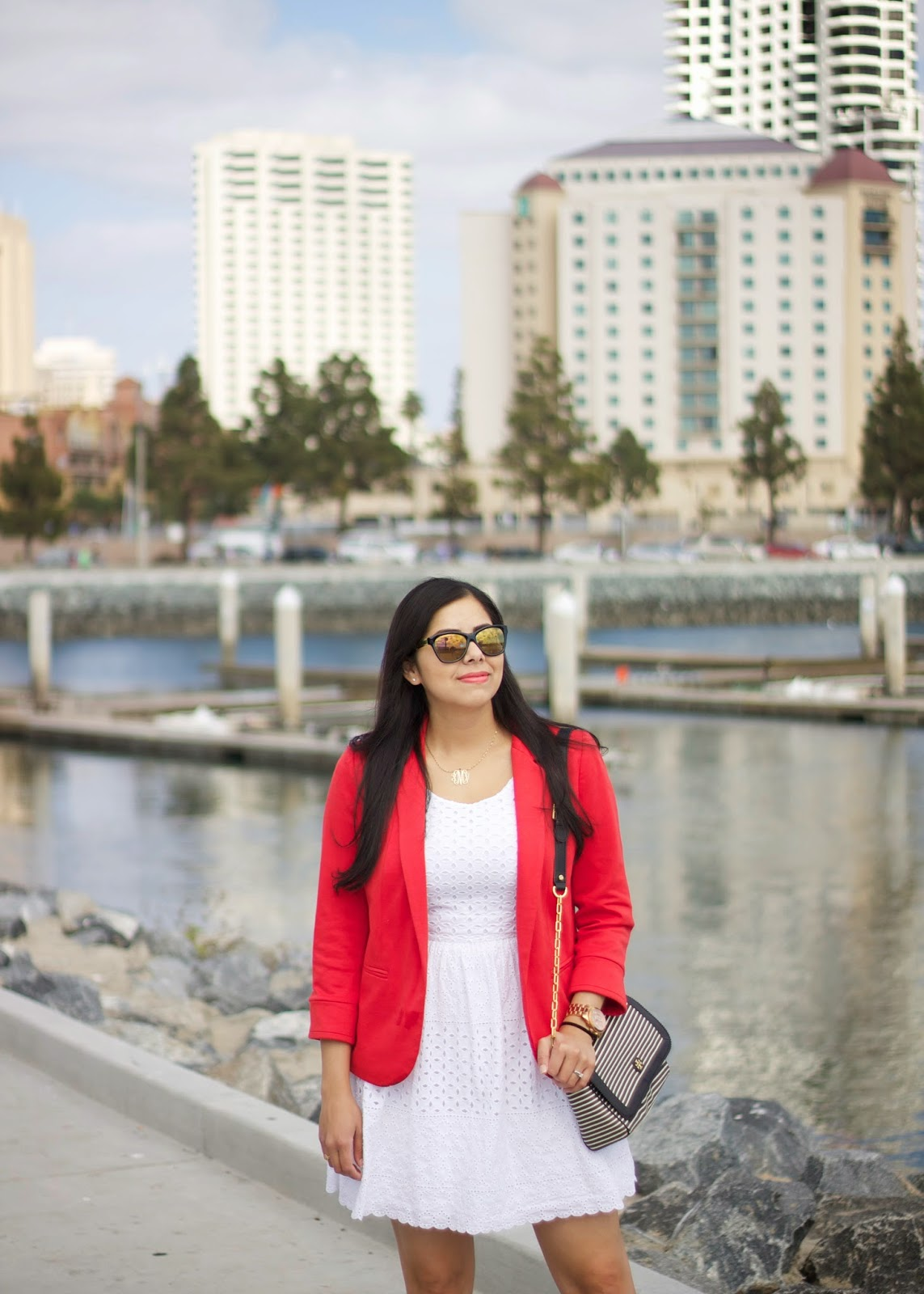 red blazer over white dress, red wallis blazer