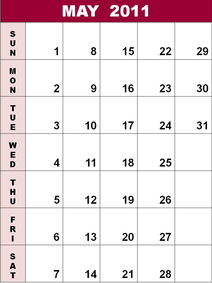 blank calendar 2011 may. Blank Calendar 2011