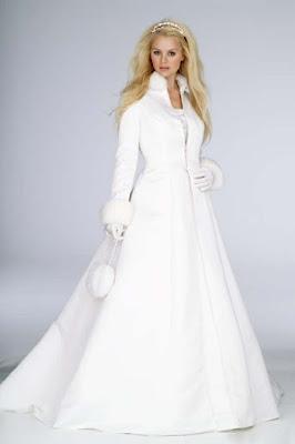 abrigo de novia de invierno corte A terciopelo y seda tafetan