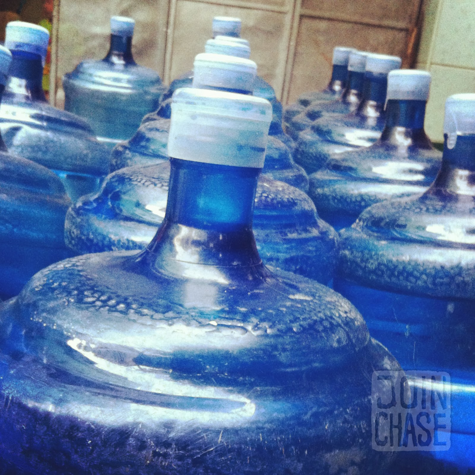 Jugs of drinking water for sale in Yangon, Myanmar.