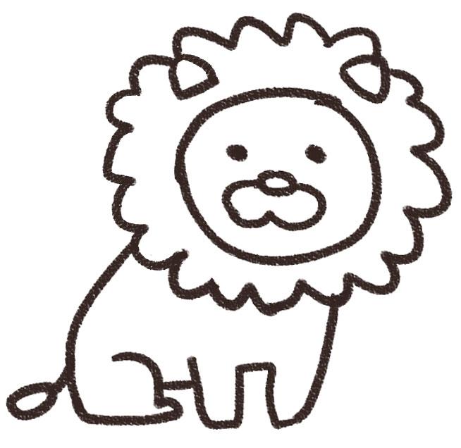 ライオンのイラスト(動物) 白黒線画