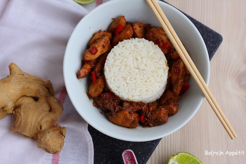 Kurczak w sosie sojowym z ryżem