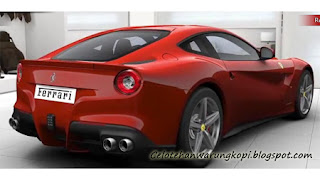 Mobil keren Ferrari F12berlinetta tampak belakang