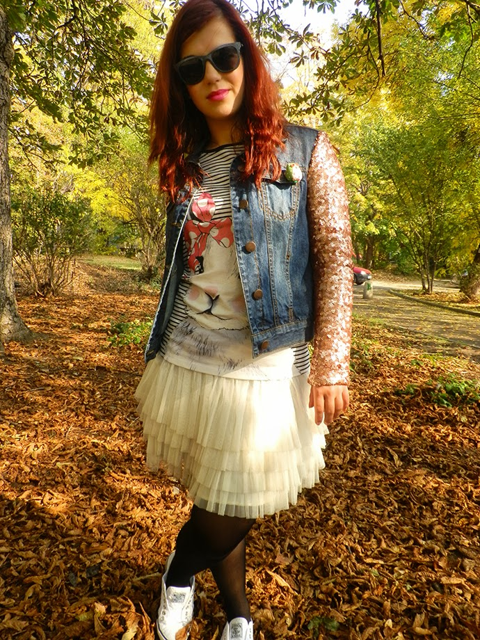 Personal style outfit wearing H&M tulle skirt and bunny blouse, Love Label sequins denim jacket, owl brooch, new look lace trainers, Le specks Revolver sunglasses