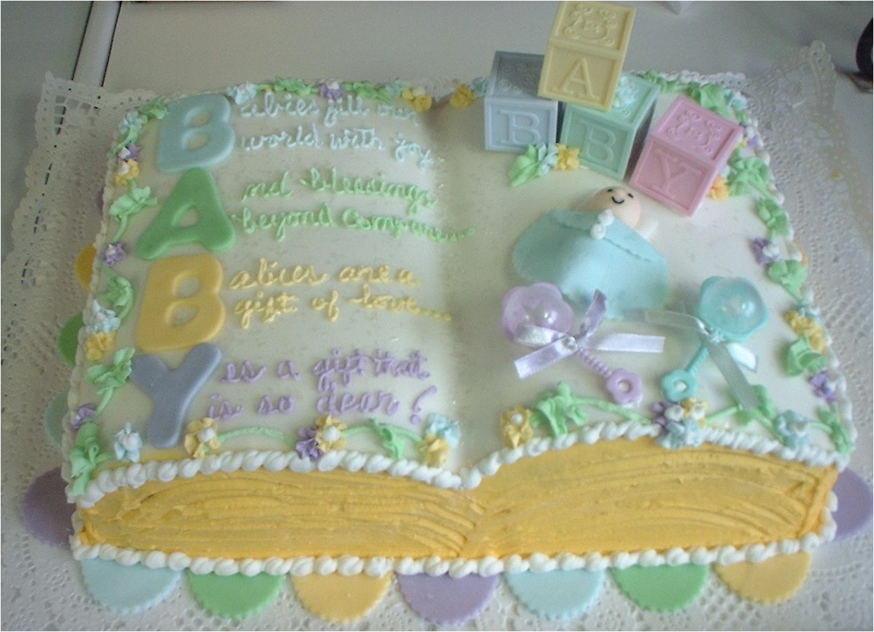 Picture insights baby shower cakes for Baby shower cake decoration ideas