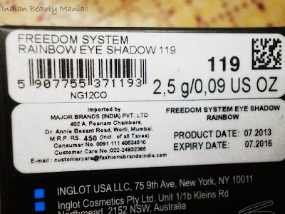 Inglot Freedom System Rainbow Eyeshadow Refill in 119R