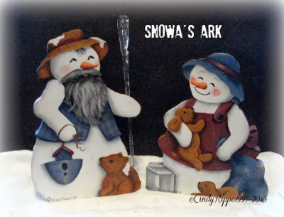 Snowa's Ark, Acrylic painting on wood, Noah's Ark, Winter painting projects, Cindy Rippe