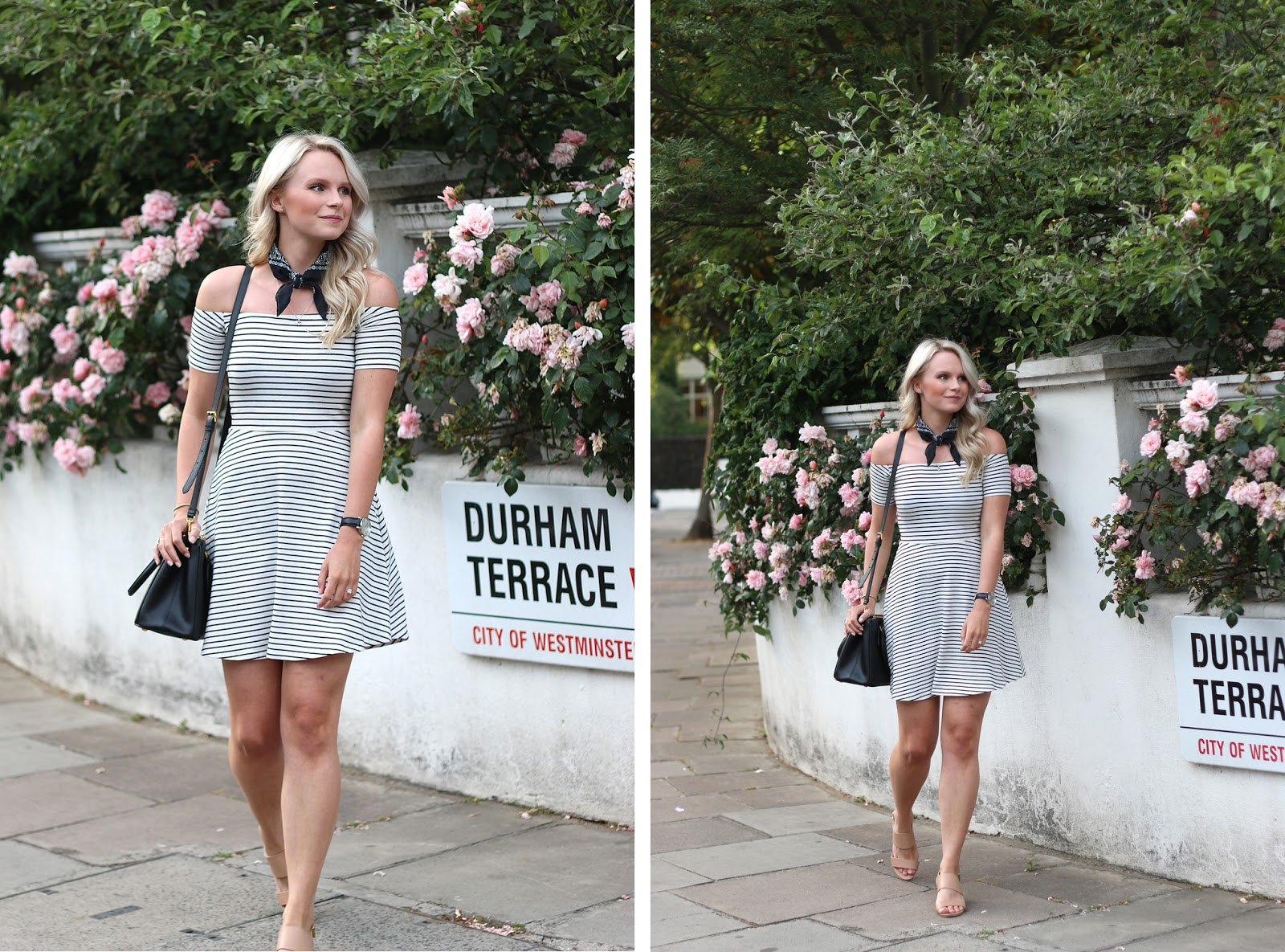 walking through the old streets of london wearing a simple striped dress for a date, pussy bow neck tie, prada purse and H&M shoes