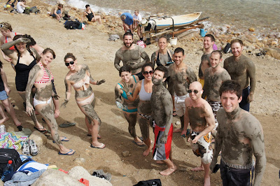 Benjamin Rubenstein and Birthright Israel group at Dead Sea, Israel