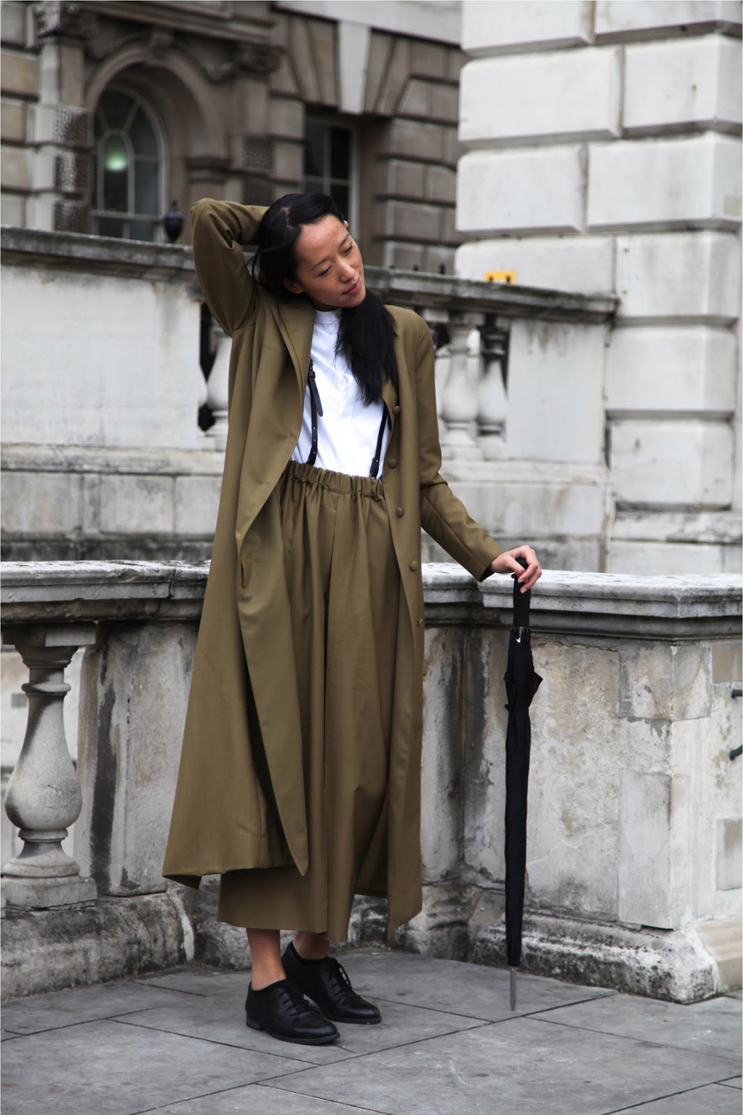 London Fashion Week street style oversized coat and wide legged pants