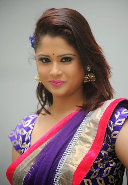 Telugu TV Anchor Shilpa Chakravarthy In Violet Blue Half Saree Latest Photos Gallery