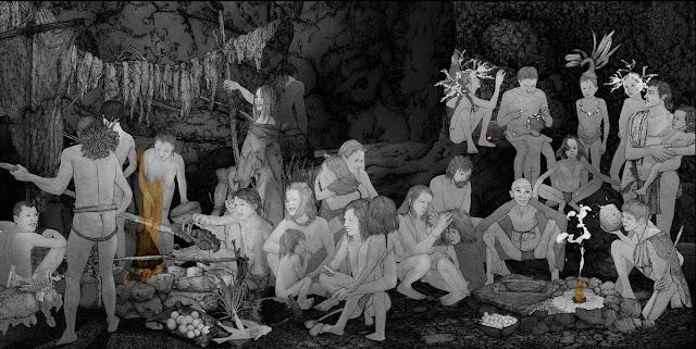 noche cueva grupo humano prehistoria, dibujo