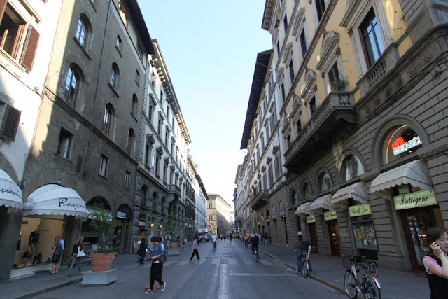 Expensive and branded boutique stores are situated within this street in Florence, Italy