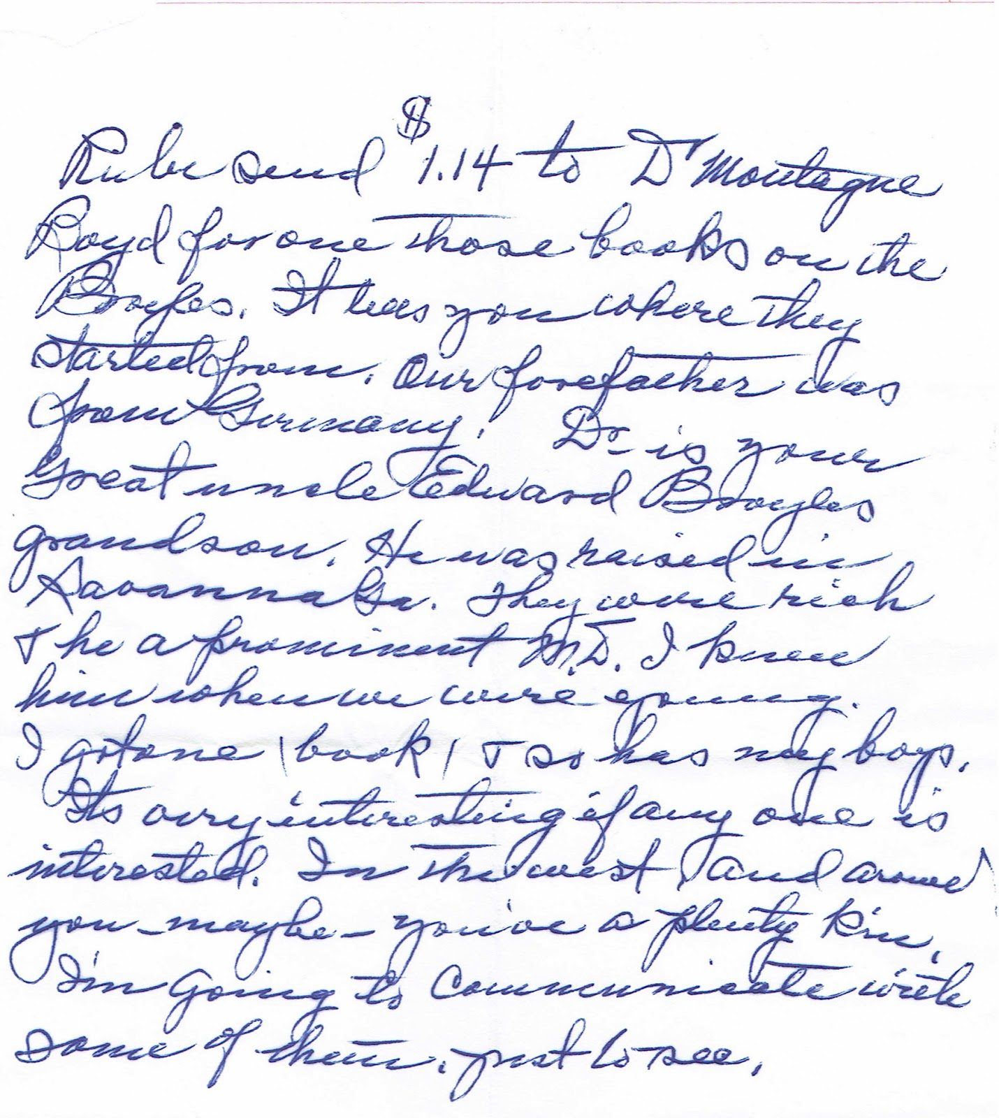 Nellie Broyles Jones writing to Ruby Davis regarding a genealogy book on the Broyles family