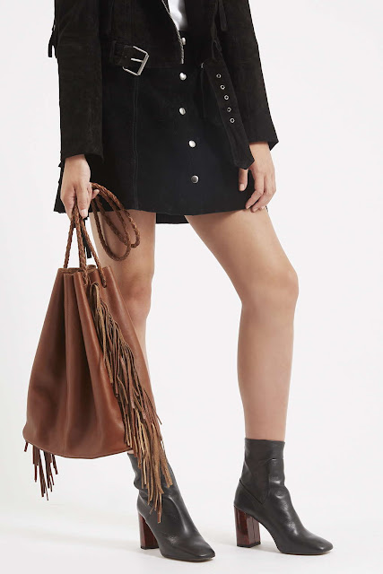 brown leather tote tassel, fringed tote bag,