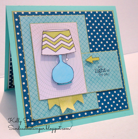 Fun Lamp card by Kelly Santi | Around the House Stamp Set | Newton's Nook Designs