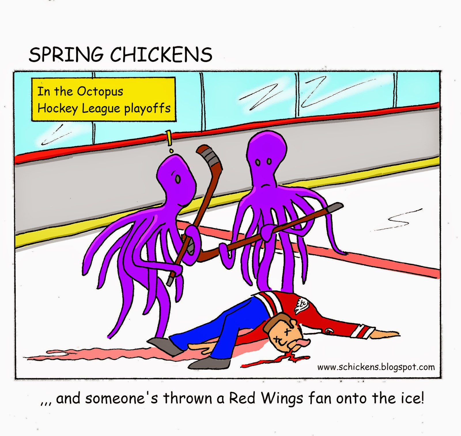 Spring chickens octopus hockey league the common refrain around the nhl is what a classy organization the detroit red wings are but seriously who still murders animals stuff them in their voltagebd Images
