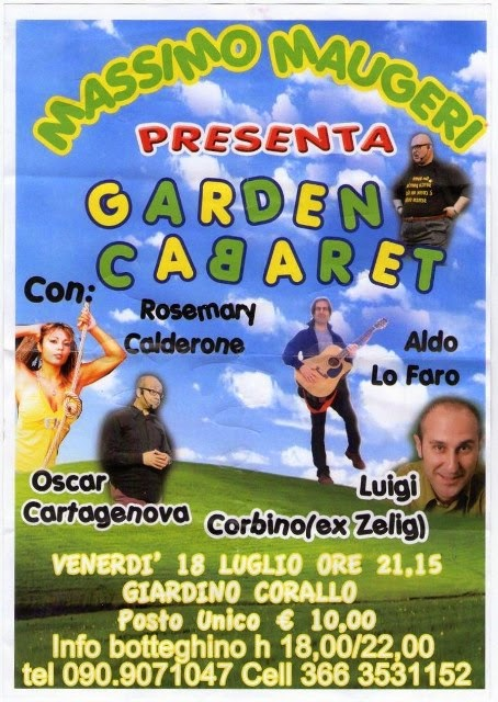 """ALL'ARENA CORALLO """"GARDEN CABARET"""" CON MASSIMO MAUGERI"""