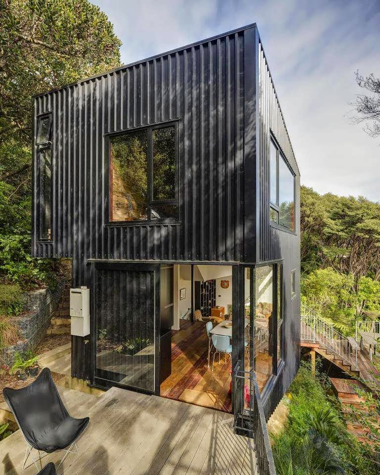 Like A Tower Of Container Minimalist House Design Combine Wood And Metal With Stripe Black