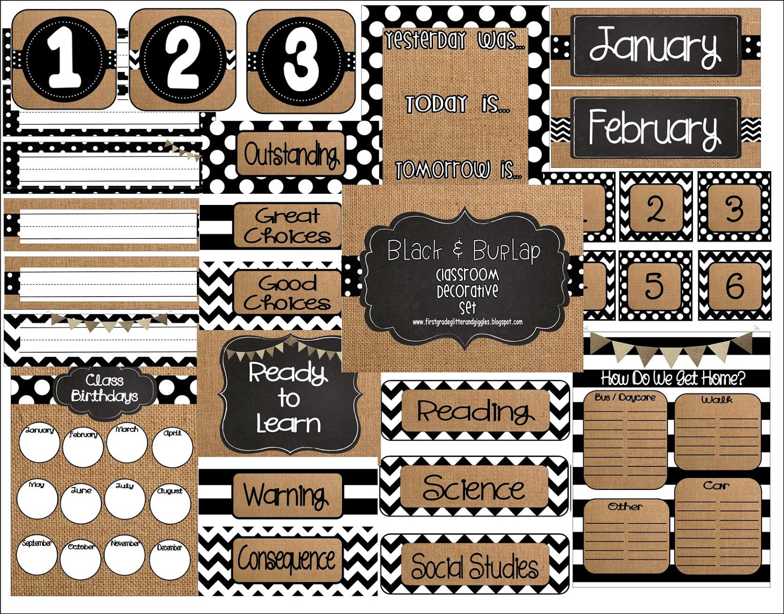 First Grade Glitter And Giggles Burlap Black