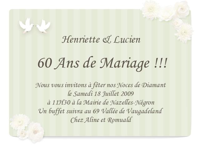 Carte Anniversaire Pour 60 Ans De Mariage Cartes Lisaoycwilson