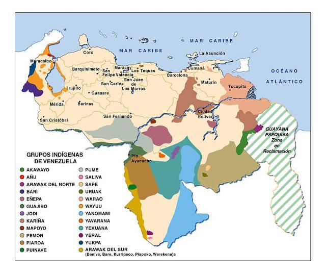 mapa de grupos indigenas en venezuela