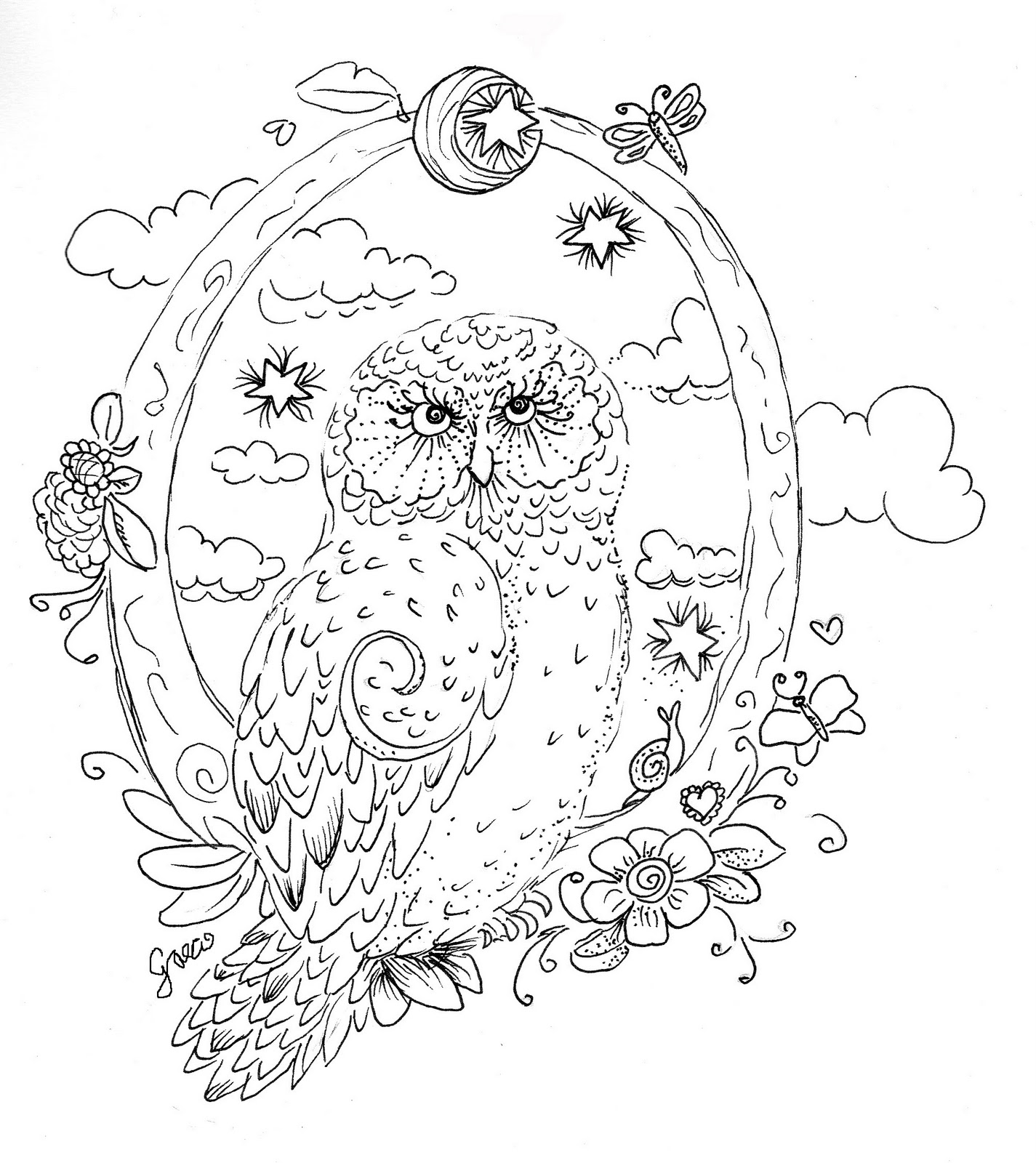 Detailed owl colouring pages