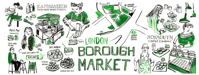 borough market mercado londres mapa ilustrado