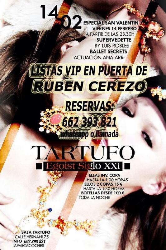 listas TARTUFO CLUB: VIERNES 14 DE FEBRERO  -  ESPECIAL SAN VALENTÍN