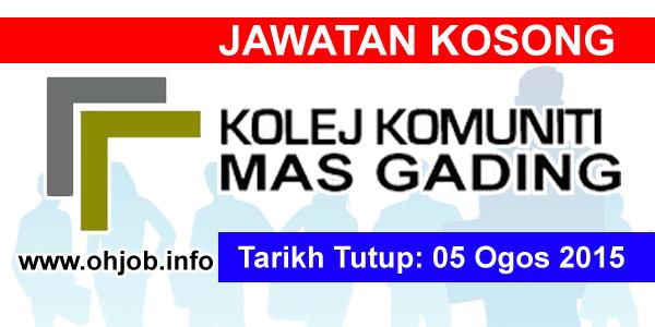 Jawatan Kerja Kosong Kolej Komuniti Mas Gading (KKMas) logo www.ohjob.info ogos 2015