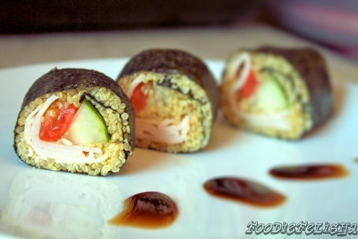 http://foodiefelisha.blogspot.com/2014/05/quinoa-turkey-sushi.html