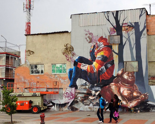 """The Artifact"" New Mural By Street Artist Fintan Magee on the streets of Bogota in Colombia. 2"